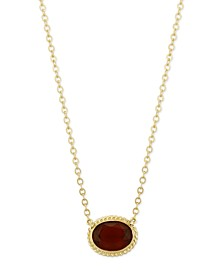 Gemstone Twist Gallery Necklace in 14k Yellow Gold Available in Citrine, Blue Topaz, Peridot and Garnet