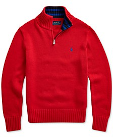 Big Boys Cotton Half-Zip Sweater, Created For Macy's