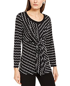 Petite Printed Tie-Waist Top, Created For Macy's