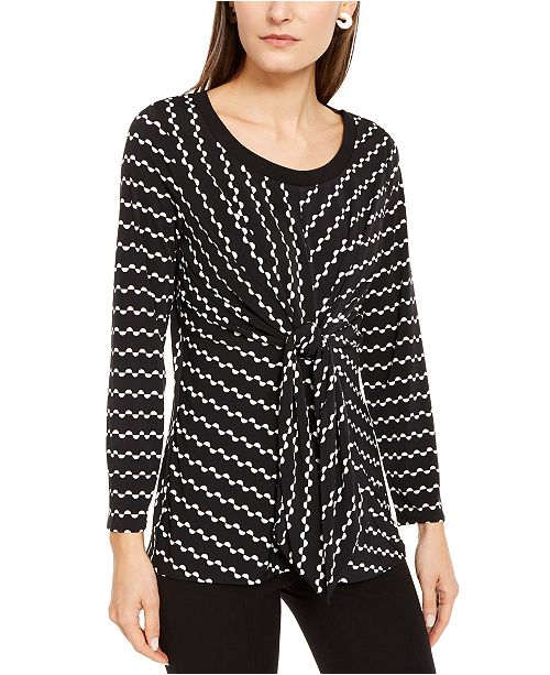 Alfani Printed Knit Tie-Front Top, Created for Macy's