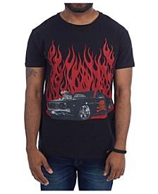 3D Graphic Printed Hot Rod Skull Rhinestone Studded T-Shirt