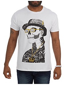 3D Graphic Skull with Top Hat T-Shirt