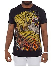 3D Graphic Printed Hot Tiger Rhinestone Studded T-Shirt