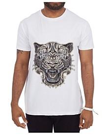 3D Graphic Printed Starstruck Tiger Rhinestone Studded T-Shirt