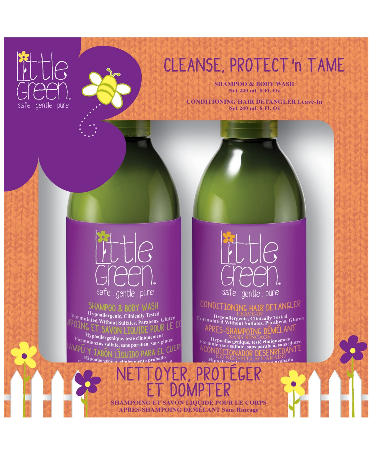 Little Green Kids Cleanse, Protect 'N'Tame Set of 2, 16 oz