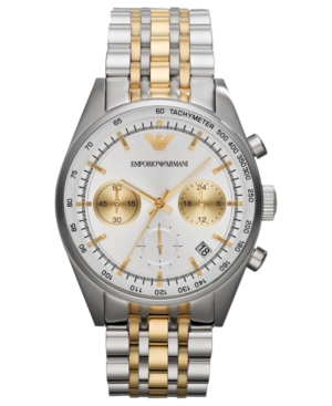 Emporio Armani Watch, Men's Chronograph Two-Tone Stainless Steel Bracelet 43mm AR6116