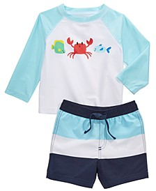 Baby Boys 2-Pc. Crab Rash Guard & Swim Trunks Set, Created for Macy's