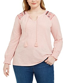 Plus Size Cotton Lace-Trim Peasant Top, Created For Macy's