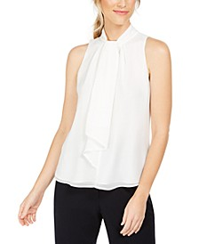 Petite Ruffle-Front Mock-Neck Top