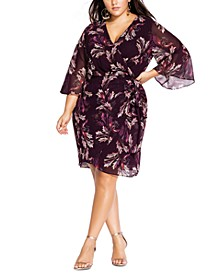 Trendy Plus Size Opulent Vine Floral-Print Faux-Wrap Dress