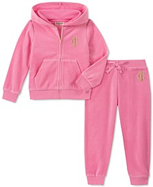 Little Girls 2-Pc. Velour Hoodie & Jogger Pants Set
