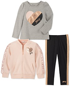 Little Girls 3-Pc. Embellished Fleece Jacket, Heart Top & Leggings Set