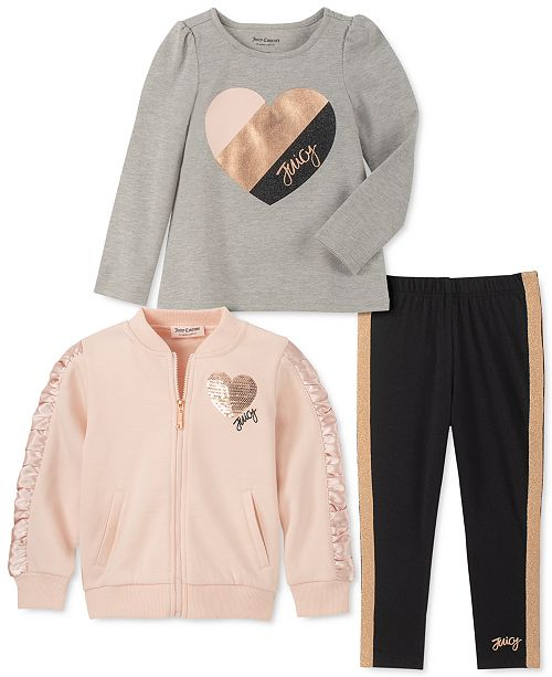 Juicy Couture Toddler Girls 3-Pc. Embellished Fleece Jacket, Heart Top & Leggings Set