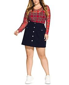 Trendy Plus Size Corduroy Mini Skirt