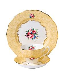 100 Years 1990 3-Piece Set, Teacup Saucer & Plate -Bouquet