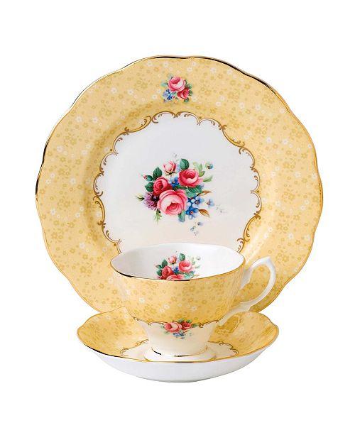 Royal Albert 100 Years 1990 3-Piece Set, Teacup Saucer & Plate -Bouquet