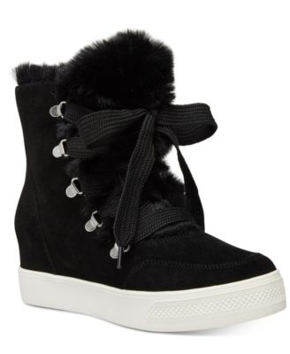 women's high top sneakers with fur