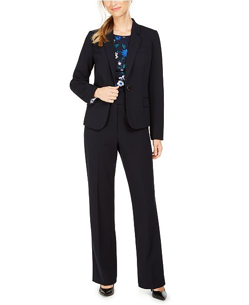 Calvin Klein Blazer, Embroidered Top & High-Rise Pants