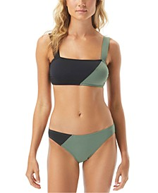 Sunblock Solid Square Neck Bikini Top & High-Leg Bottoms