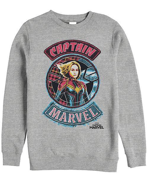 Marvel Men's Captain Marvel Patchwork Logos, Crewneck Fleece