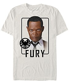 Men's Captain Marvel Nick Fury Id Portrait, Short Sleeve T-shirt