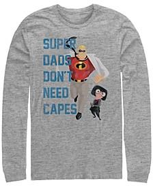 Pixar Men's Incredibles Super Dads No Capes, Long Sleeve T-Shirt