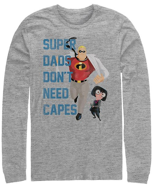 Disney Pixar Men's Incredibles Super Dads No Capes, Long Sleeve T-Shirt