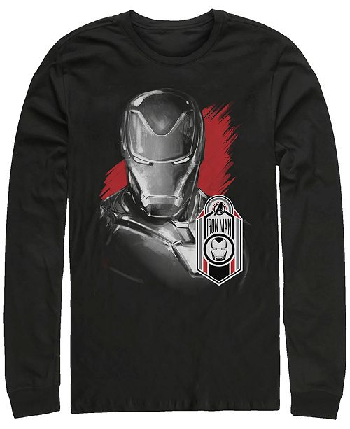 Marvel Men's Avengers Endgame Iron Man Tag Logo, Long Sleeve T-shirt