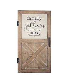American Art Decor Family Gathers Here Wood Door Sign
