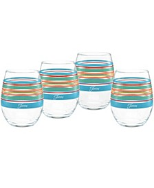 Rainbow Radiance Stripes 15-Ounce Stemless Wine Glass Set of 4