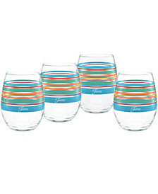 Fiesta Rainbow Radiance Stripes 15-Ounce Stemless Wine Glass Set of 4