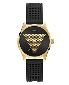 Women's Gold-Tone and Black Silicone Logo Watch, 36mm