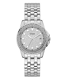 Women's Silver-Tone Stainless Steel Glitz Watch, 36mm