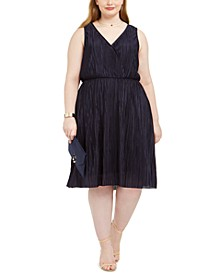 Trendy Plus Size Pleated Surplice Dress