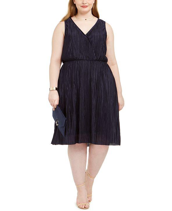 Love Squared Trendy Plus Size Pleated Surplice Dress