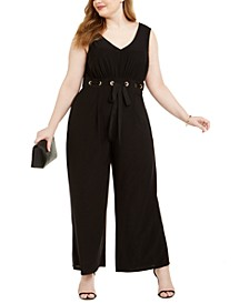 Trendy Plus Size Grommet-Trim Jumpsuit