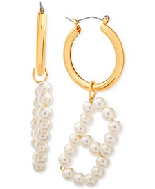 Small Imitation Pearl Initial Hoop Earring 1.1""
