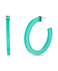 Large Green Acrylic Open Back Hoop Earring 2.17""