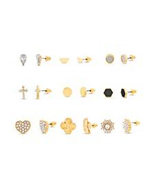 Rhinestone Yellow Goldtone Heart 9 Piece Stud Earring Set