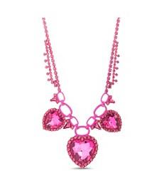 Pink Rhinstone Triple Heart Necklace
