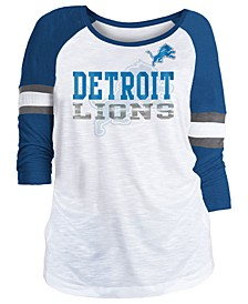 Women's Detroit Lions Three-Quarter Sleeve Slub Raglan T-Shirt
