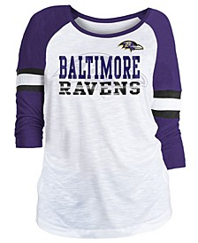 Women's Baltimore Ravens Three-Quarter Sleeve Slub Raglan T-Shirt