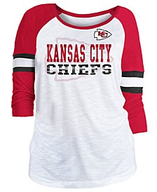 Women's Kansas City Chiefs Three-Quarter Sleeve Slub Raglan T-Shirt