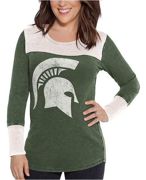 Touch by Alyssa Milano Women's Michigan State Spartans Thermal Long Sleeve T-Shirt