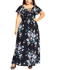 Trendy Plus Size Dark Blooms Maxi Dress