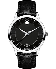 Men's Swiss Automatic 1881 Black Leather Strap Watch 40mm