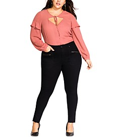 Plus Size On Command Zippered-Accent Skinny Jeans