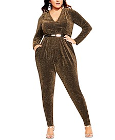 Trendy Plus Size Night Queen Metallic Jumpsuit