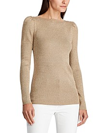 Puff-Sleeve Boatneck Sweater