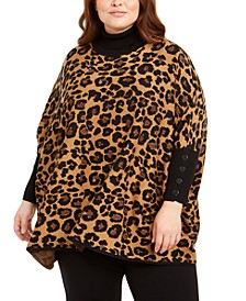 Plus Size Metallic Leopard-Print Poncho Sweater
